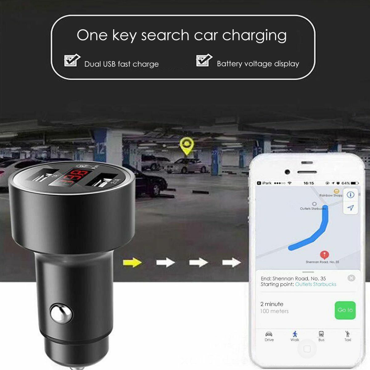 Dual-Port USB Car Charger Find Car GPS Positioning For 12V-24V Vehicle